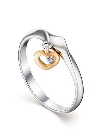Серебряное кольцо с бриллиантовой подвеской в форме сердца «Дива», Размер кольца: 17, фото