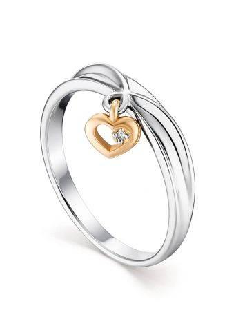 Тонкое серебряное кольцо с бриллиантовой подвеской в золоте «Дива», Размер кольца: 18, фото