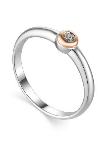 Лаконичное серебряное кольцо с бриллиантом в золоте «Дива», Размер кольца: 18, фото