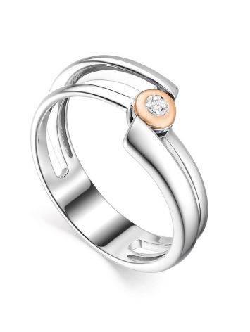 Необычное серебряное кольцо с бриллиантом в золоте  «Дива», Размер кольца: 16.5, фото