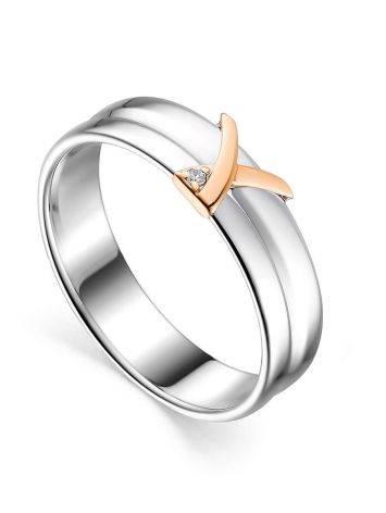 Широкое серебряное кольцо с бриллиантом в золоте «Дива», Размер кольца: 16.5, фото