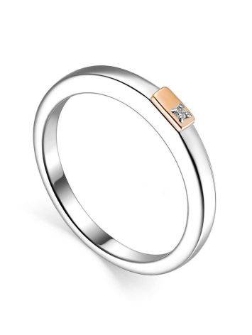 Тонкое серебряное кольцо с бриллиантом в золоте «Дива», Размер кольца: 17, фото