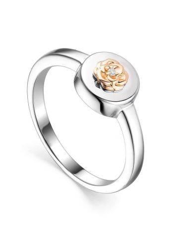 Нежное серебряное кольцо с золотым цветком и бриллиантом «Дива», Размер кольца: 16.5, фото