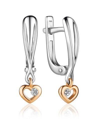 Серебряные серьги с бриллиантовыми сердечками в золоте «Дива», фото