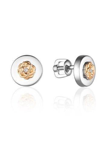Нежные серебряные серьги-пусеты с бриллиантами в золоте «Дива», фото