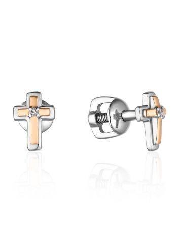 Аккуратные серьги-гвоздики из серебра и золота с бриллиантами «Дива», фото