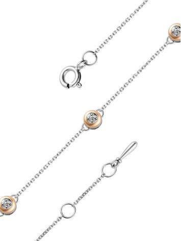 Утонченный серебряный браслет с бриллиантами и золотом «Дива», фото , изображение 3