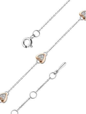 Серебряный браслет с золотым шармом в форме сердца и бриллиантом «Дива», фото , изображение 3