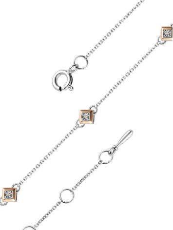 Тонкий серебряный браслет с бриллиантом и золотыми деталями «Дива», фото , изображение 3