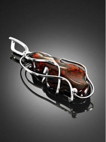 Крупная подвеска из цельного вишнёвого янтаря в серебре «Риальто», фото , изображение 2