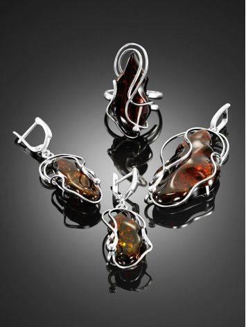 Крупная подвеска из цельного вишнёвого янтаря в серебре «Риальто», фото , изображение 4