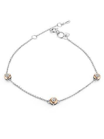 Утонченный серебряный браслет с бриллиантами и золотом «Дива», фото
