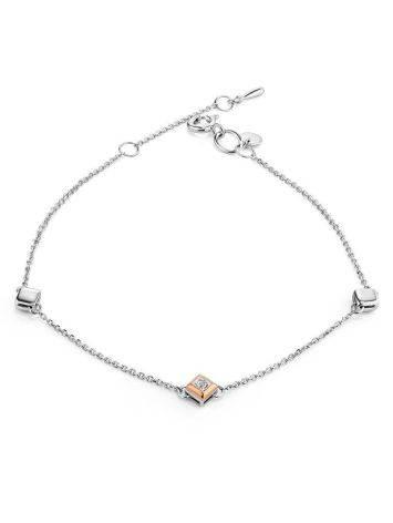 Тонкий серебряный браслет с бриллиантом и золотыми деталями «Дива», фото