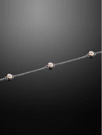 Утонченный серебряный браслет с бриллиантами и золотом «Дива», фото , изображение 2