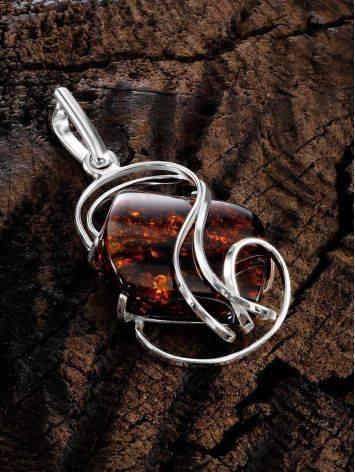 Красивая подвеска из серебра и натурального янтаря вишнёвого цвета «Риальто», фото , изображение 2
