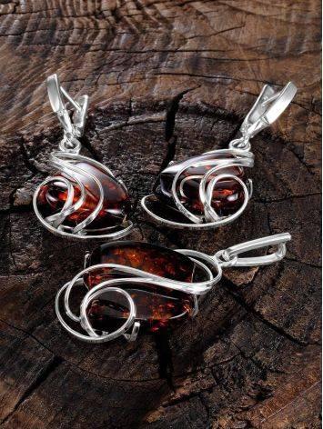 Красивая подвеска из серебра и натурального янтаря вишнёвого цвета «Риальто», фото , изображение 4