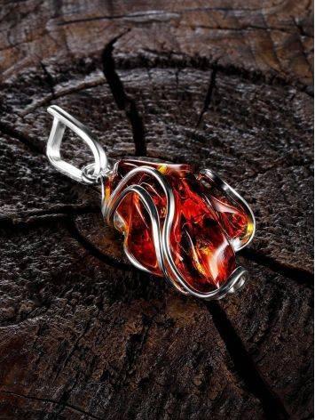 Крупная подвеска из цельного натурального янтаря коньячного цвета с искорками «Риальто», фото , изображение 2