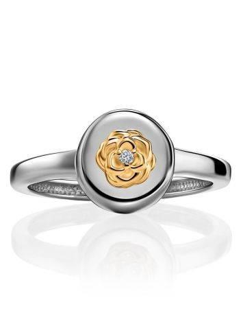 Нежное серебряное кольцо с золотым цветком и бриллиантом «Дива», Размер кольца: 16.5, фото , изображение 3