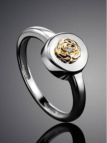 Нежное серебряное кольцо с золотым цветком и бриллиантом «Дива», Размер кольца: 16.5, фото , изображение 2
