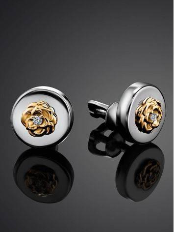 Нежные серебряные серьги-пусеты с бриллиантами в золоте «Дива», фото , изображение 2
