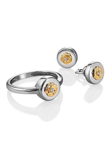 Нежное серебряное кольцо с золотым цветком и бриллиантом «Дива», Размер кольца: 16.5, фото , изображение 4