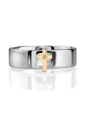 Широкое серебряное кольцо с бриллиантом в золоте «Дива», Размер кольца: 16.5, фото , изображение 3