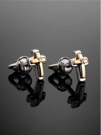 Аккуратные серьги-гвоздики из серебра и золота с бриллиантами «Дива», фото , изображение 2
