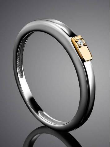 Тонкое серебряное кольцо с бриллиантом в золоте «Дива», Размер кольца: 17, фото , изображение 2