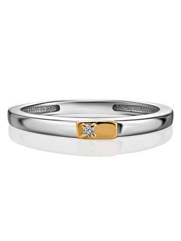 Тонкое серебряное кольцо с бриллиантом в золоте «Дива», Размер кольца: 17, фото , изображение 3