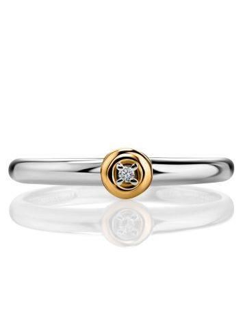 Лаконичное серебряное кольцо с бриллиантом в золоте «Дива», Размер кольца: 18, фото , изображение 3