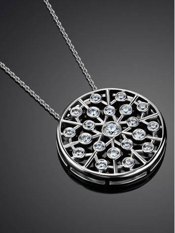 Круглая подвеска с кристаллами на серебряной цепочке, фото , изображение 2