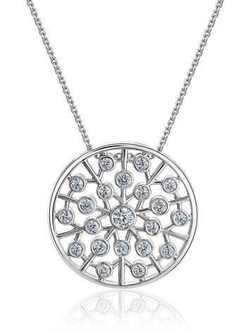 Круглая подвеска с кристаллами на серебряной цепочке, фото