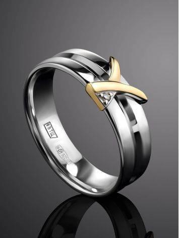 Широкое серебряное кольцо с бриллиантом в золоте «Дива», Размер кольца: 16.5, фото , изображение 2