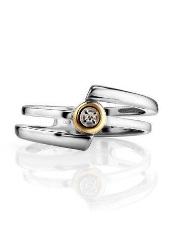 Необычное серебряное кольцо с бриллиантом в золоте  «Дива», Размер кольца: 16.5, фото , изображение 3