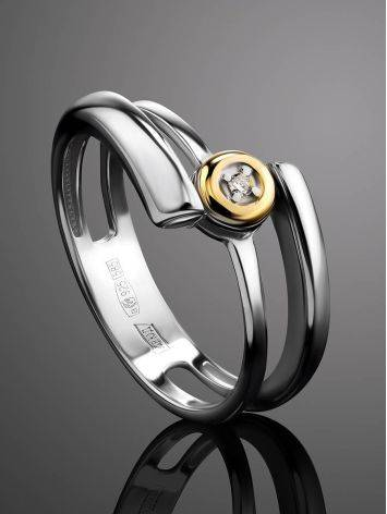Необычное серебряное кольцо с бриллиантом в золоте  «Дива», Размер кольца: 16.5, фото , изображение 2