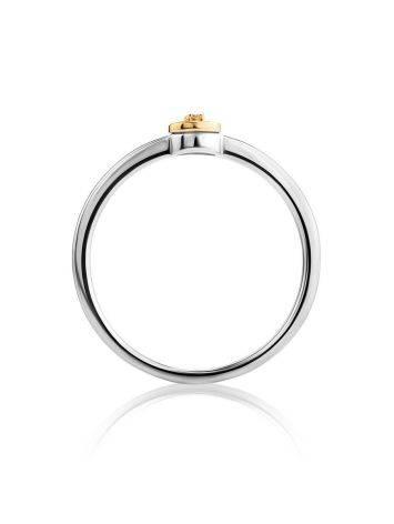Тонкое серебряное кольцо с бриллиантом в золоте «Дива», Размер кольца: 18, фото , изображение 3