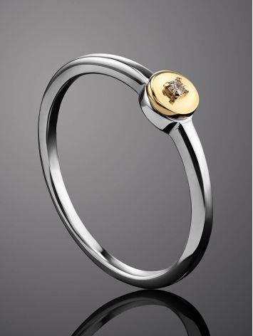 Тонкое серебряное кольцо с бриллиантом в золоте «Дива», Размер кольца: 18, фото , изображение 2