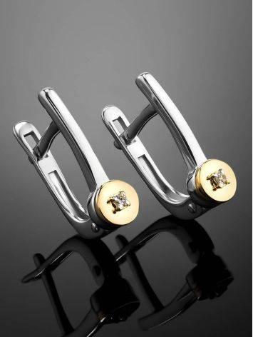 Лаконичные серебряные серьги с бриллиантами в золоте «Дива», фото , изображение 2