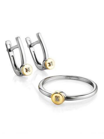 Тонкое серебряное кольцо с бриллиантом в золоте «Дива», Размер кольца: 18, фото , изображение 4