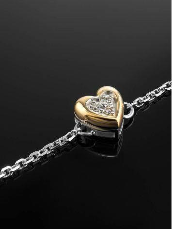 Серебряный браслет с золотым шармом в форме сердца и бриллиантом «Дива», фото , изображение 2
