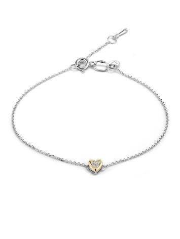 Серебряный браслет с золотым шармом в форме сердца и бриллиантом «Дива», фото