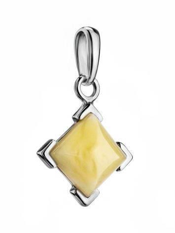 Небольшой кулон из янтаря светло-медового оттенка в серебре «Артемида», фото , изображение 3