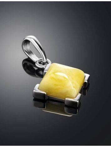 Небольшой кулон из янтаря светло-медового оттенка в серебре «Артемида», фото , изображение 2