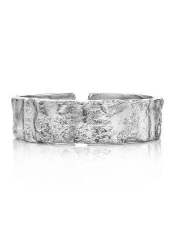 Кольцо из текстурного «мятого» серебра Liquid, Размер кольца: б/р, фото , изображение 4