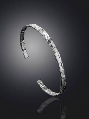 Тонкий жёсткий браслет из фактурного серебра Liquid, фото , изображение 2