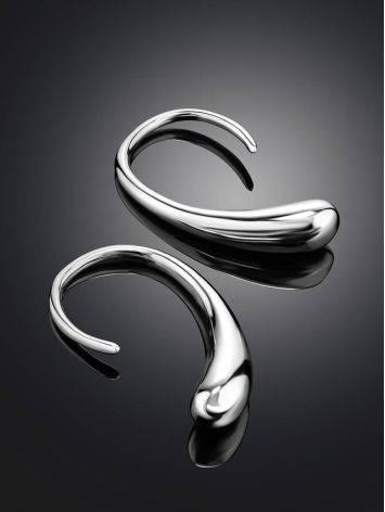 Эффектные серьги-крючки в виде капли из серебра Liquid, фото , изображение 2