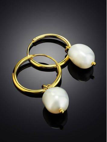 Эффектные серьги-кольца с барочным жемчугом Liquid, фото , изображение 2