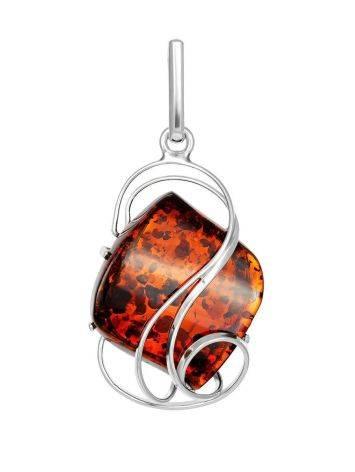 Красивая подвеска из серебра и натурального янтаря вишнёвого цвета «Риальто», фото