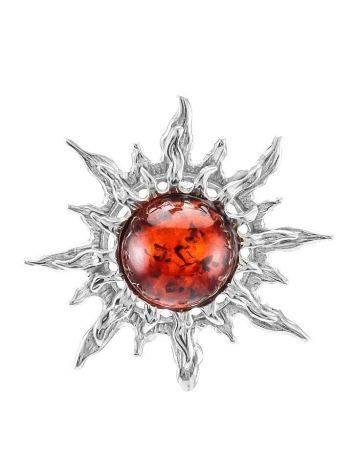Кулон из натурального вишнёвого янтаря в серебре «Гелиос», фото
