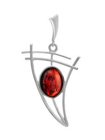 Легкий кулон из серебра с полупрозрачным вишневым янтарем «Парус», фото